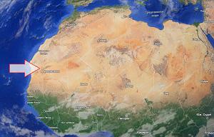 Структура Ришат на карте Африки
