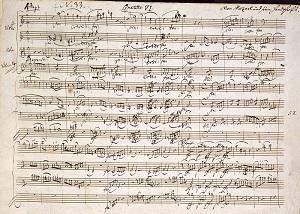 Нотная рукопись Моцарта